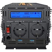 EDECOA inversor 12v 220v onda pura 1500w transformador de corriente ONDA PURA con MANDO a DISTANCIA, USB y pantalla LCD