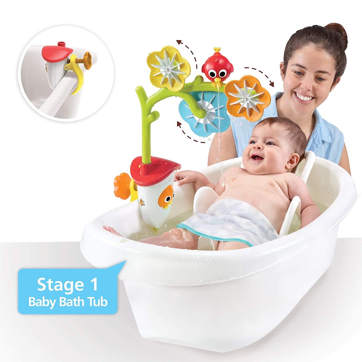 Yookidoo baby bath mobile spinning flowers and swiveling fountain for newborn and toddler bath time sensory development attaches to any size tub wall