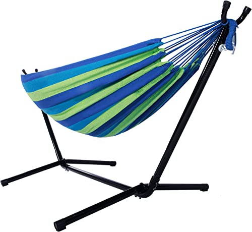 Azadx Double Hammocks, Two Person Adjustable Hammock with Space Saving Steel Stand and Portable Carrying Case, Desert Stripe Blue Green