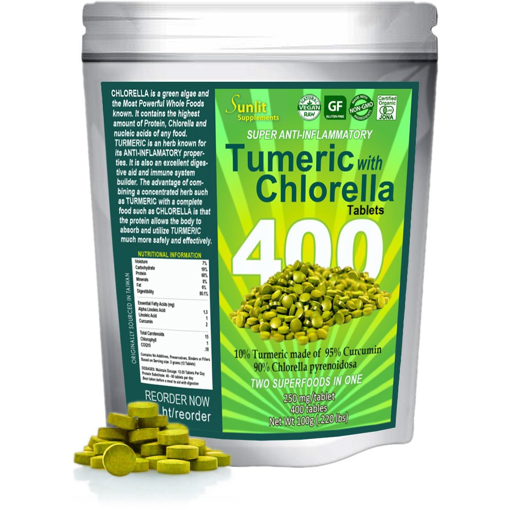 Sunlit Chlorella w/ Turmeric Tablets. Superfood supplement combines Organic raw non-GMO Chlorella Pyrensoidosa with Turmeric root (95% Concentrated Curcumin). No fillers no preservatives.