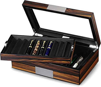 Lifomenz Co Caja expositora para bolígrafos, madera de ébano, caja de almacenamiento para pluma estilográfica, caja organizadora de 20 bolígrafos con ventana de cristal, caja con bandeja: Amazon.es: Oficina y papelería