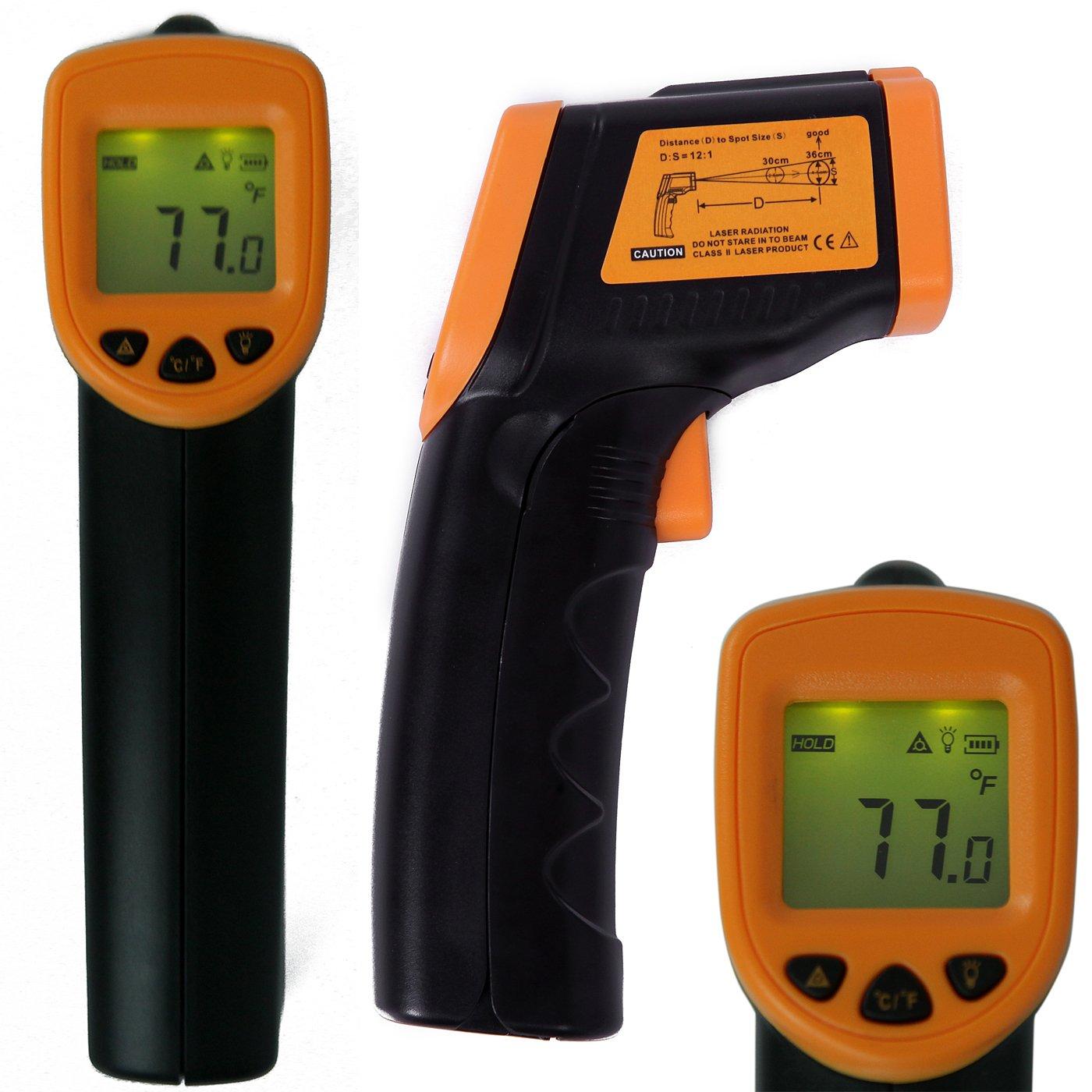 HDE High Accuracy Non-Contact Infrared IR Temperature Gun Digital Thermometer