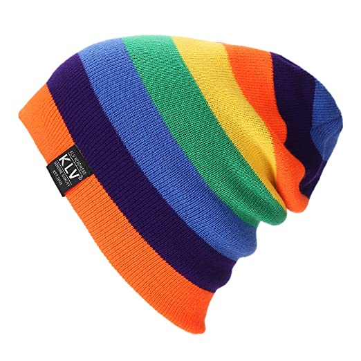 5d7249839 Feamos Slouchy Baggy Beanie Knit Colorful Hats Cozy Comfortable Warm  Rainbow Cap Oversized for Winter Unisex (Orange)