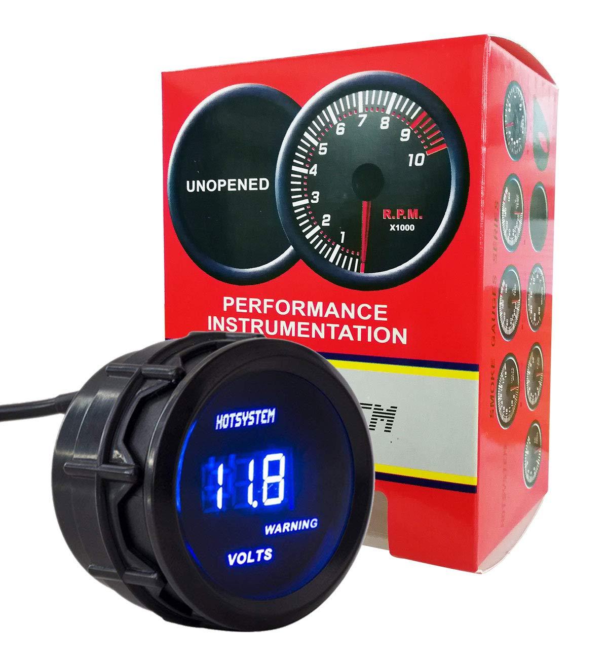 HOTSYSTEM New 2 52mm Blue Digital LED Electronic Volt Meters Gauge HS-C017013