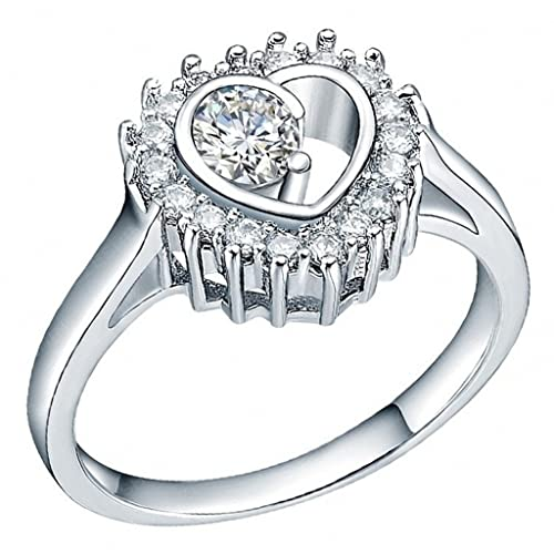 Alimab joyería señoras mujeres anillos boda anillos chapado en oro amor corazón plata anillos 17