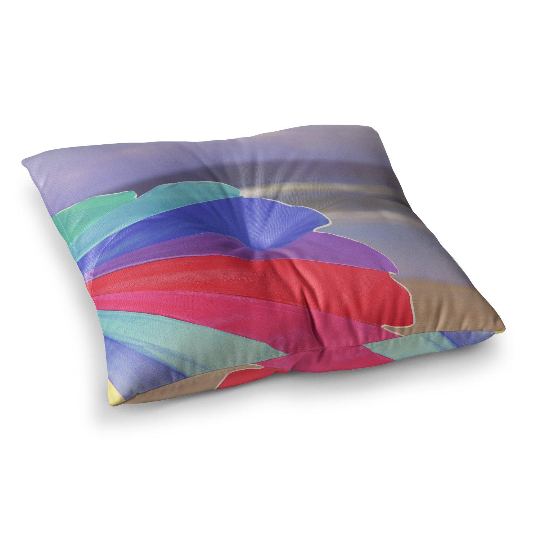 23 x 23 Square Floor Pillow Kess InHouse Angie Turner Beach Umbrella-Coastal Photography