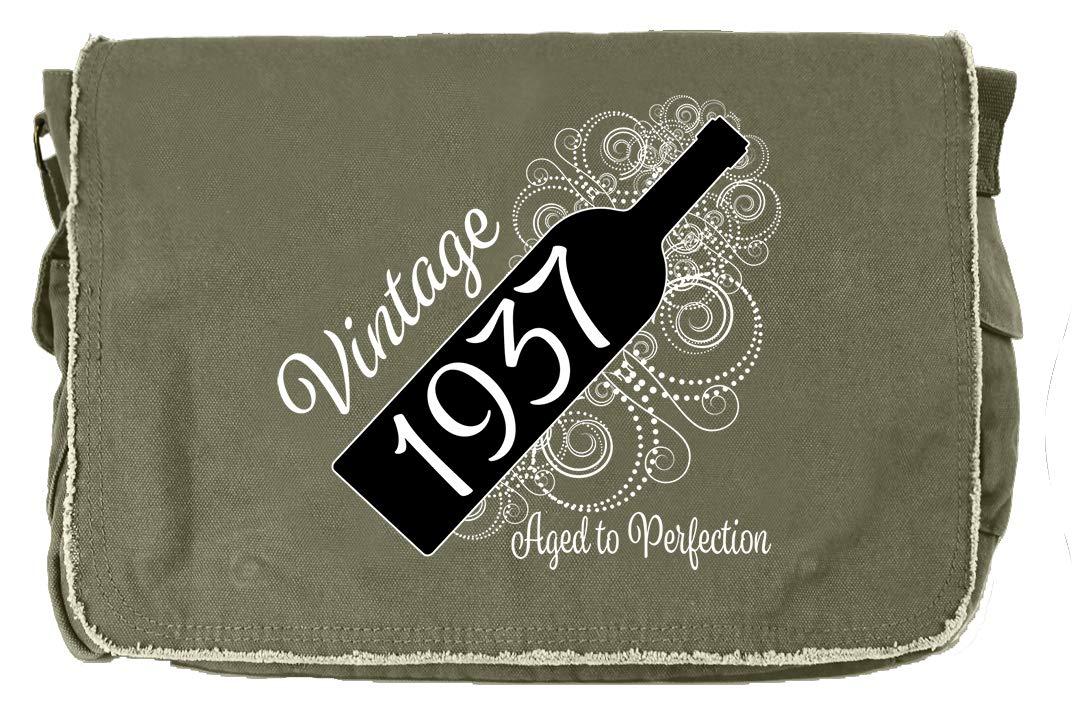 Aged Like a Fine Wine Flamingo Raw Edge Canvas Messenger Bag Tenacitee Born in 1937