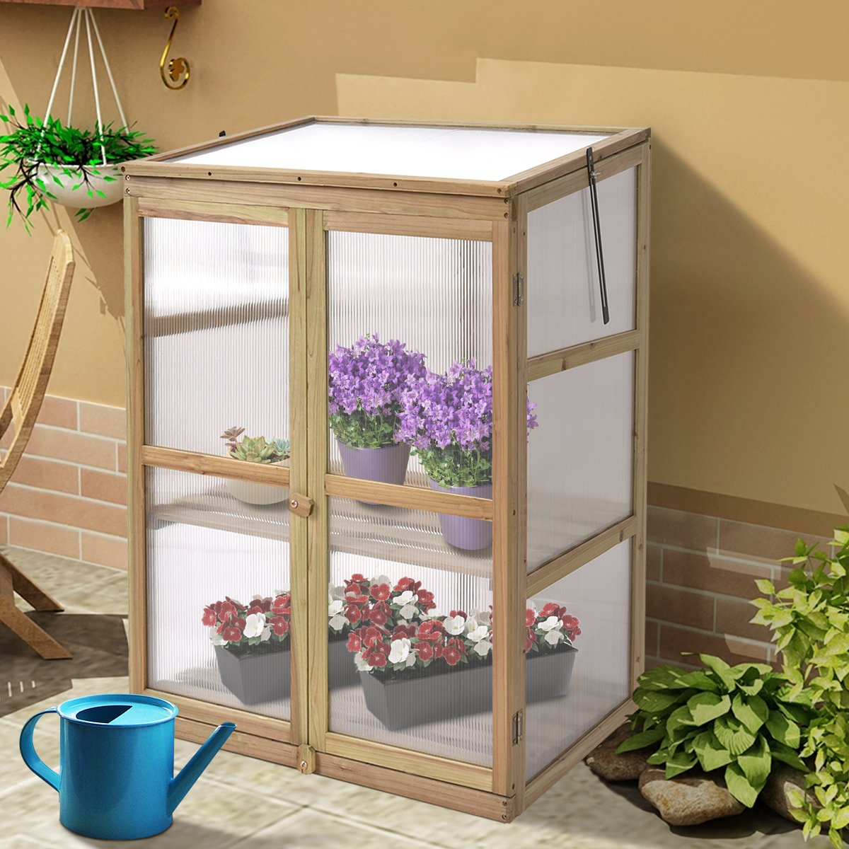 COSTWAY Garden Greenhouse Plants Shelf Plant Flower Growhouse Wooden/Timber & Polycarbonate 75 x 59 x 110 CM