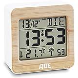 ADE Funkwecker CK 1705. Digitale Uhr mit DCF Zeitsignal, Gehäuse mit echtem Bambus, LCD-Display, Thermometer für Raumemperatur, Schlummerfunktion und Kalender. Inklusive Batterie