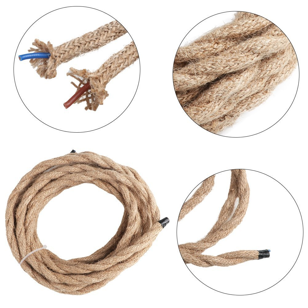 Rope Light Cord, 16.4ft Linen Covered Copper Wire 18/2 Round Vintage ...