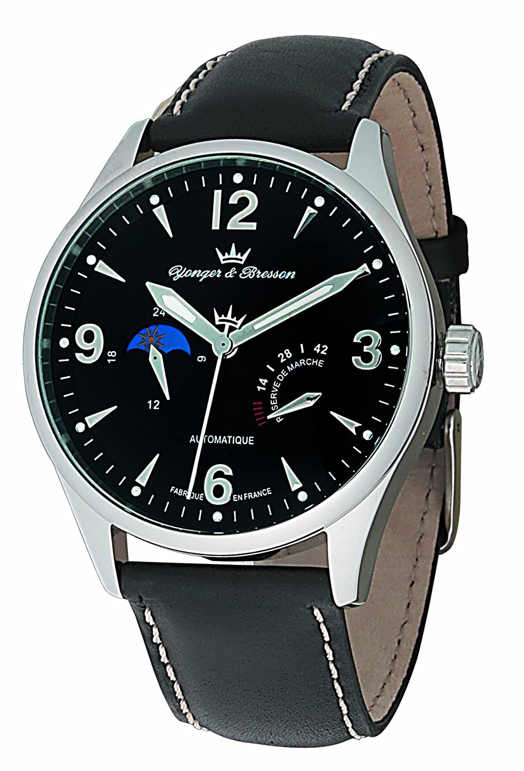 Yonger & Bresson Men 's YBH 8317 – 01ブラックダイヤルPVD Steel Automatic Rubber Watch。 B004080TKE