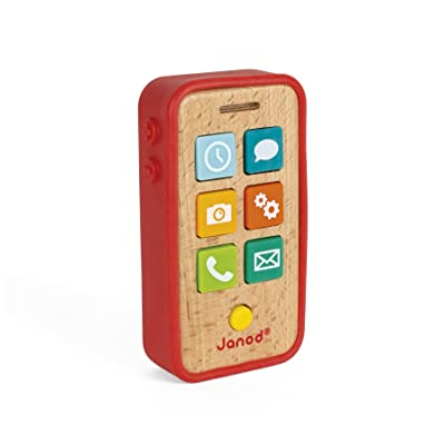 Janod Beech Wood Sound & Light Toddler Cell Phone with Silicone Cover for Pretend Play Ages 18 Months+: Toys & Games