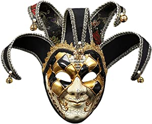 OxoxO Full Face Venetian Jester Mask Masquerade Mardi Gras Costume for Carnival/Halloween/Christmas/Home/Party Wall Decoration Supplies(Black)