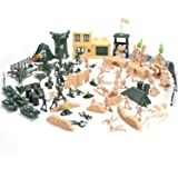 Hautton Toy Army Men Set, Plastic Military Action Figures Combat Battle Playset Bucket with Soldiers, Tank, Plane…