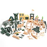 Hautton Toy Army Men Set, 130 PCS Plastic Military Action Figures Combat Battle Playset Bucket with Soldiers, Tank, Plane, Helicopter, Flag, Fence, and Battlefield Accessories for Boys Kids Children