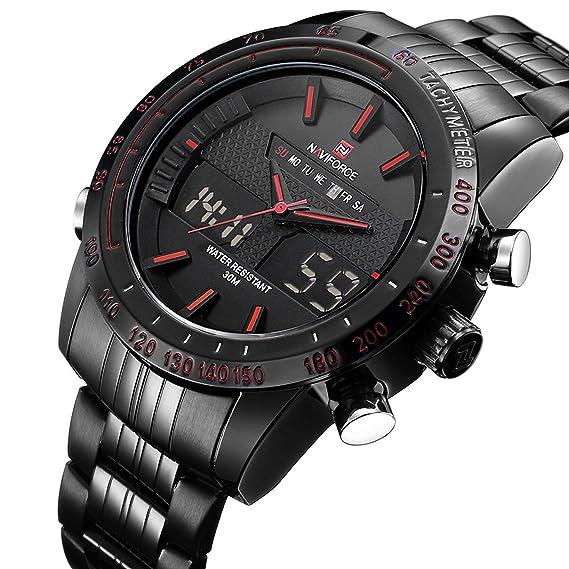 Reloj de pulsera analógico digital para hombre con dos pantallas, fecha y día, resistente al agua, de acero inoxidable, color negro: Amazon.es: Relojes