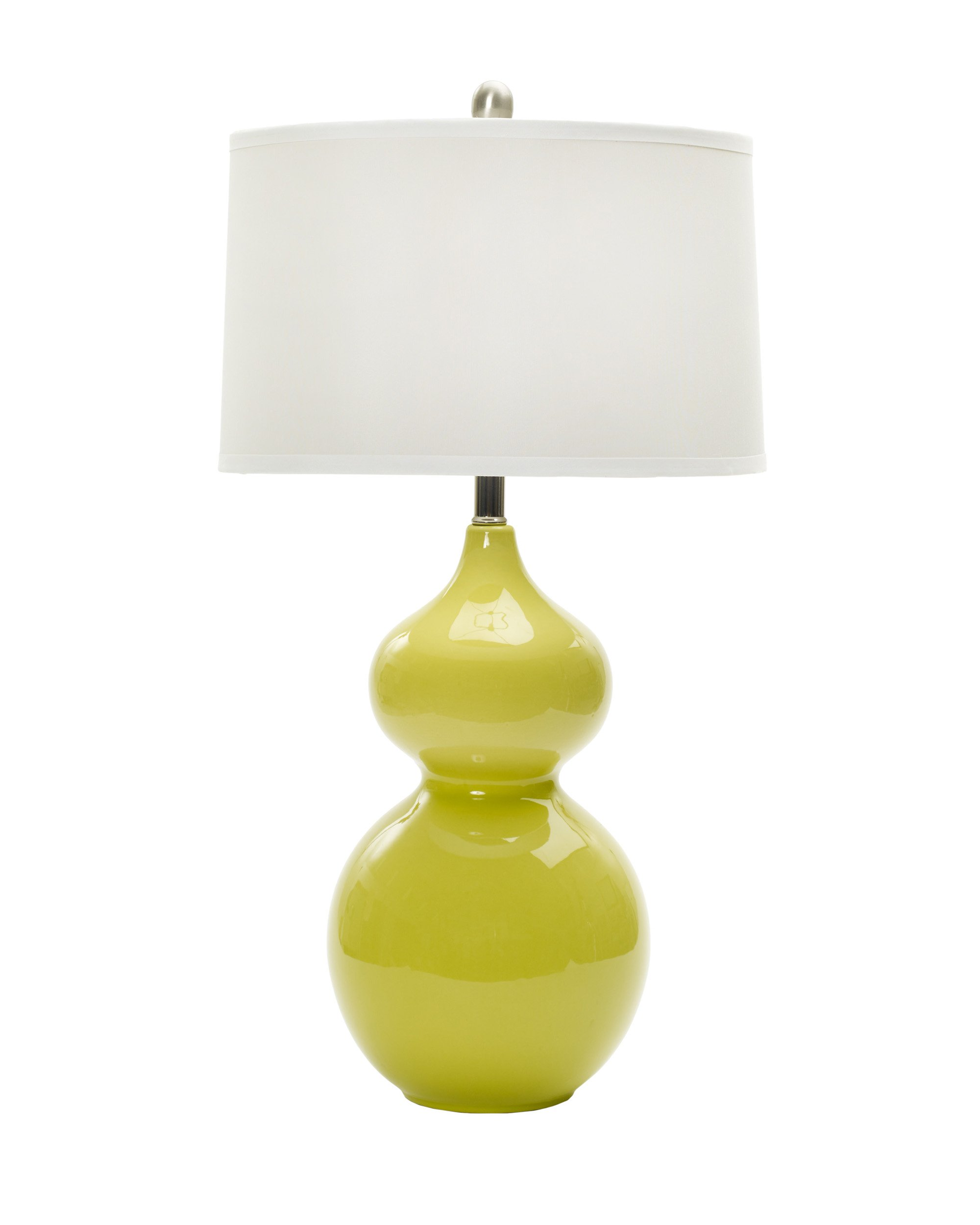 Fangio Lighting W-MR7790CHIC LIME 28'' Ceramic Table Lamp, Chic Lime & Brushed Steel Accents