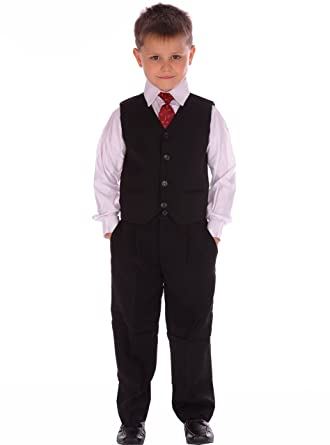 Niños Trajes de boda elegante traje negro Formal de Bautizo ...