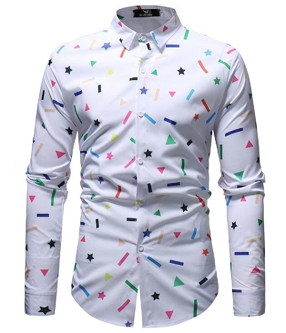 Vska Men Turn-Down Collar Fit Long-Sleeve Floral Printed T-Shirts Shirts