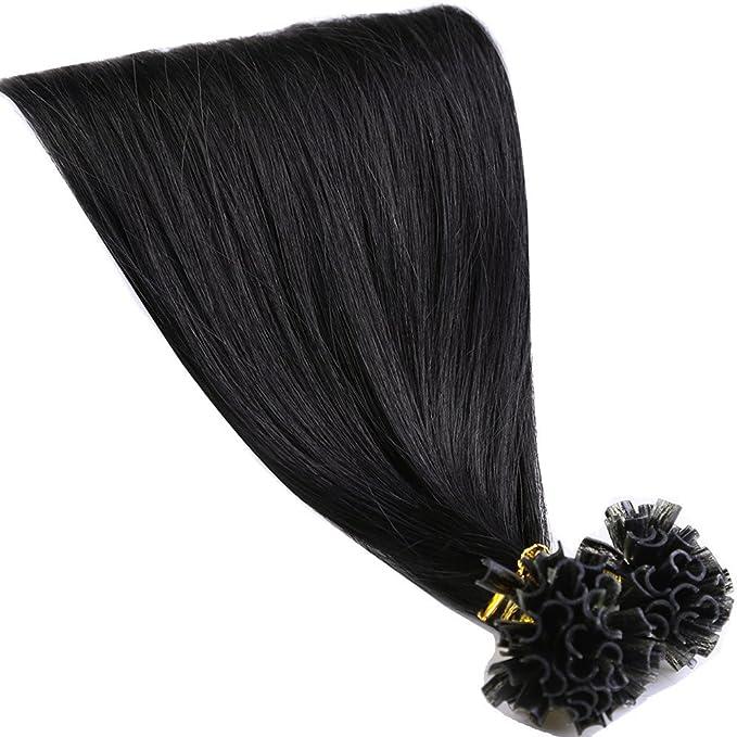200 mechones Hair Extension pelo auténticos brasiliani cheratina 100% Remy Human Hair Pre Bonded U-tip Keratina allungamento Nail Hair, 45 cm-100g, ...
