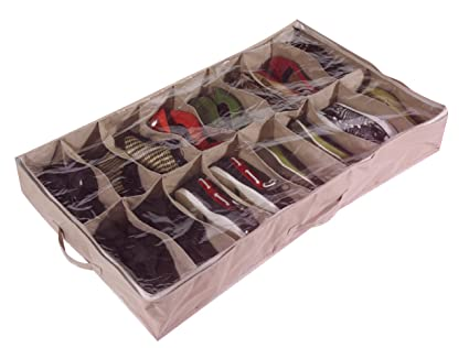 Large Heavy Duty 16 Pocket Underbed Shoe Storage Bag For Up To 16