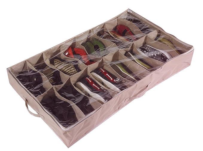 Caja organizadora de zapatos para debajo de la cama (para 16 pares, de robusta lona Oxford de 600D, con tapa transparente de PVC, 60 x 15 x 100 cm) - por ...