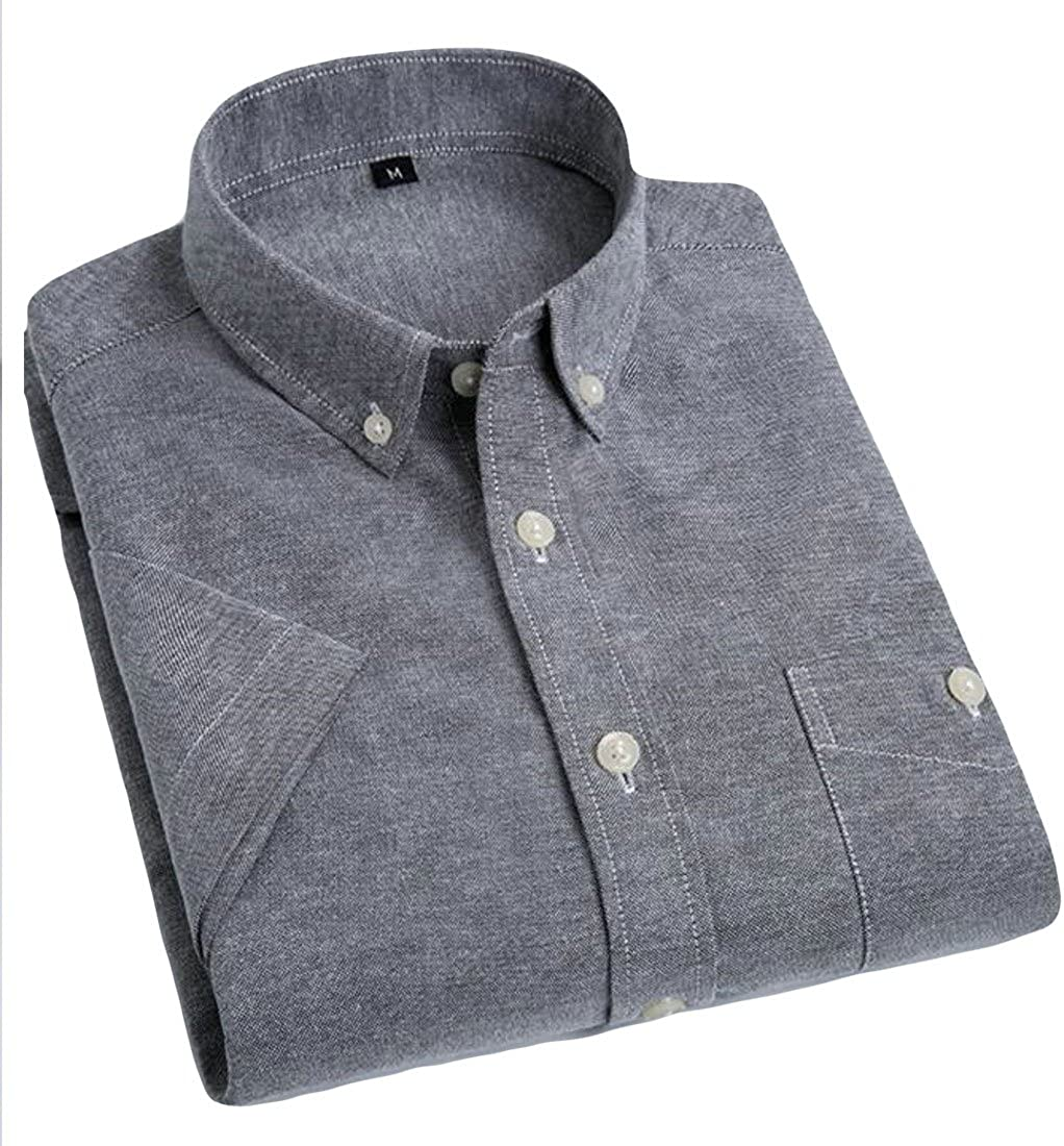 JSY Mens Oxford Short Sleeve Solid Color Button up Casual Dress Shirts