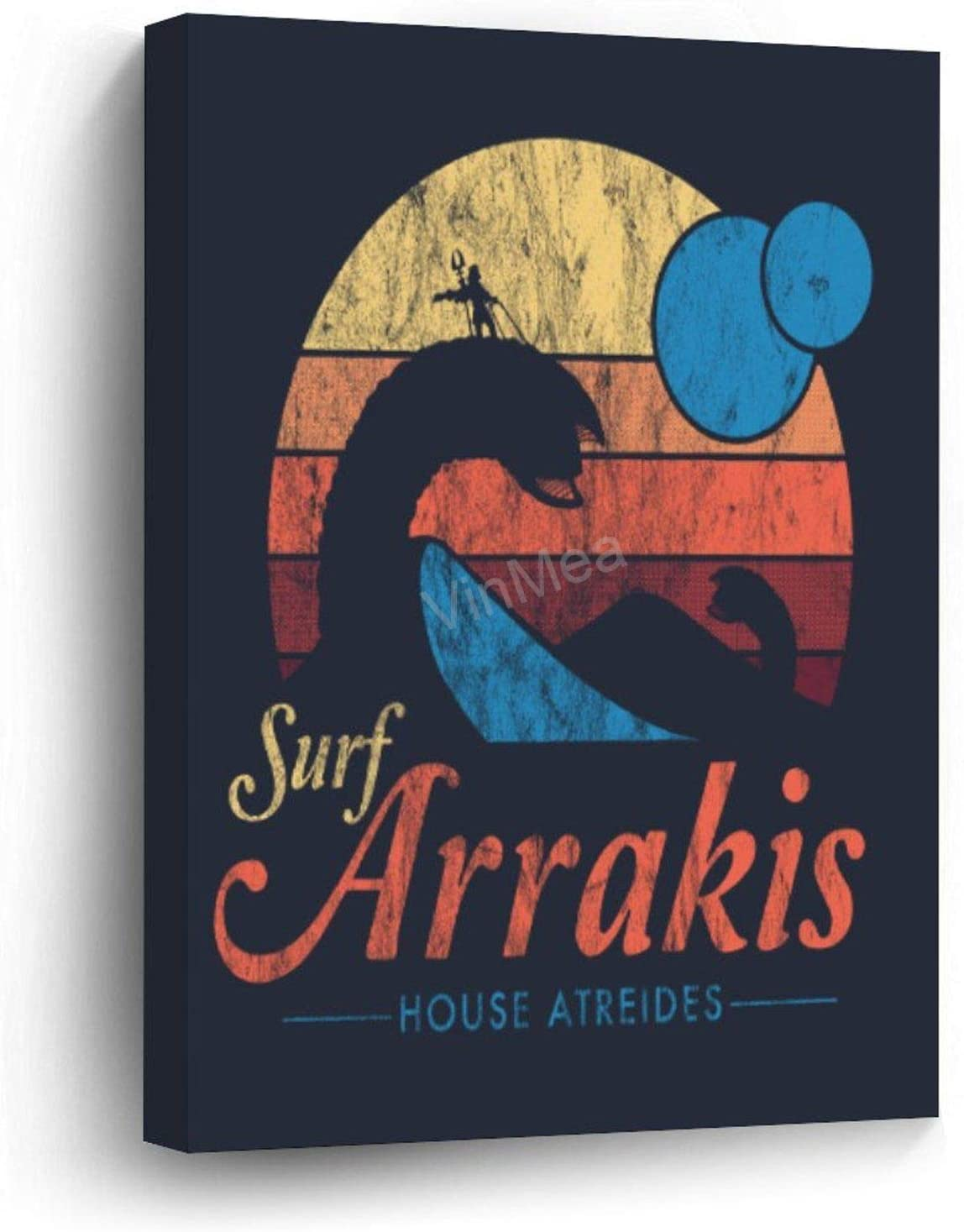 "Funny Pictures Wrapped Canvas Visit Arrakis - Vintage Distressed Surf - Dune - Sci Fi Wall Art Decor Wooden Framed 12"" X 16"""
