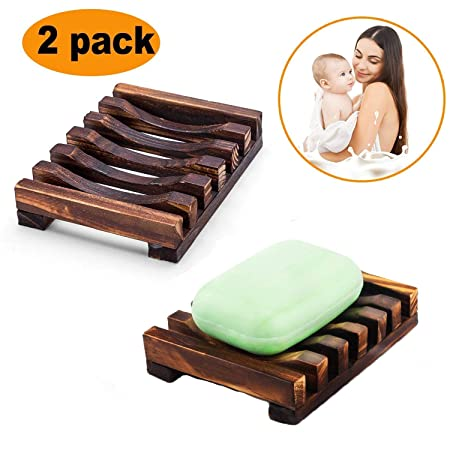 4 pcs Natural Wooden Bamboo Soap Holder Bathroom Shower Rectangular Sink Deck Soapbox Drainer Storage Plate Tray Handmade Soap Dishes Drainer Hand Craft for Soap Sponges Home Bath Accessories