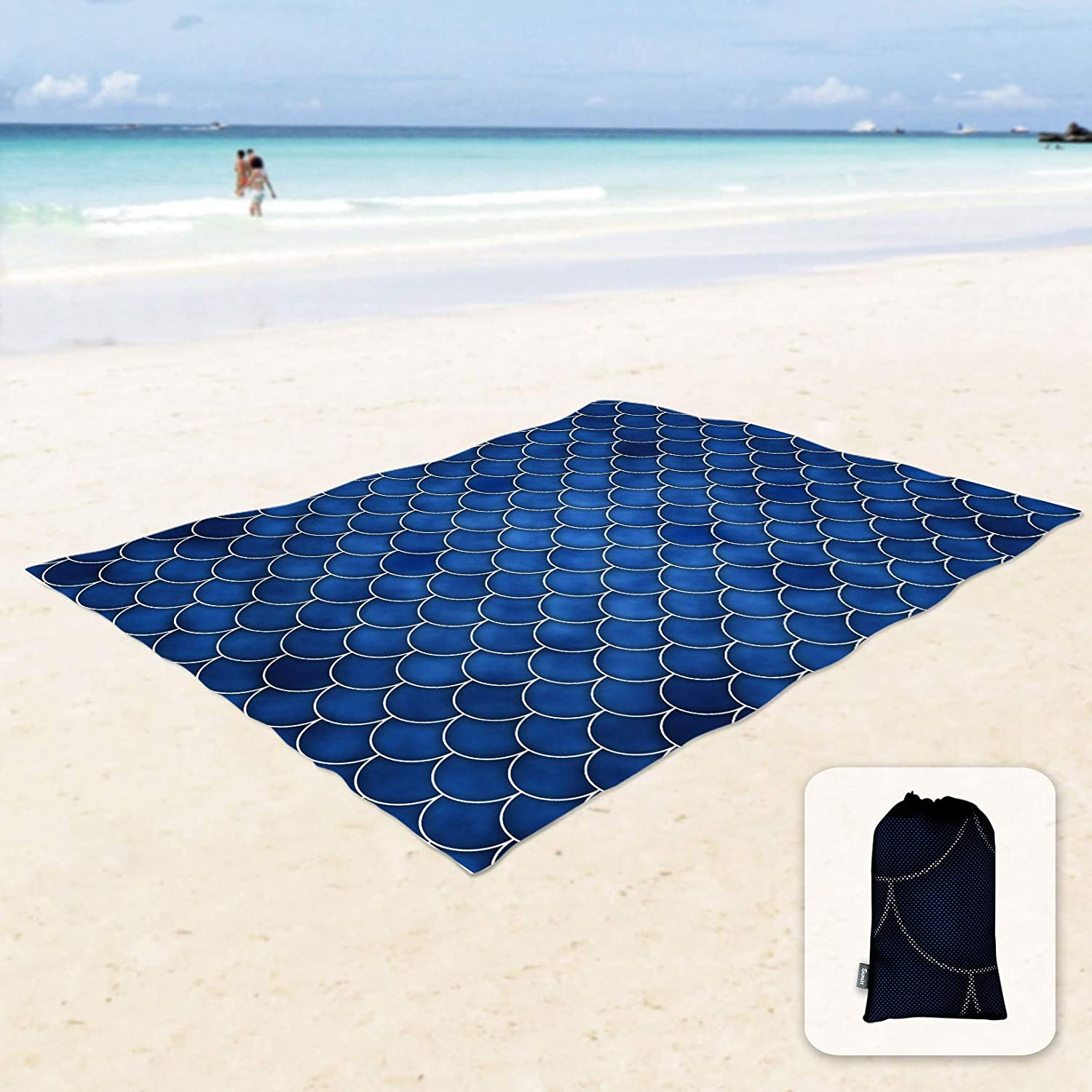 Sunlit Silky Soft Sand Proof Beach Blanket Sand Proof Mat with Corner Pockets and Mesh Bag for Beach Party, Travel, Camping and Outdoor Music Festival, Dark Blue Mermaid Tail Scale