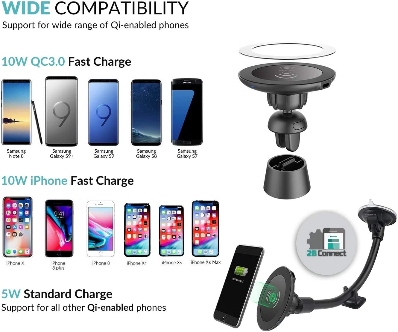 Wireless Car Charger for iPhone X iPhone 8 Plus//iPhone 8 and Note 5-Black BAMAN BAMAN-Air and Other Qi-Enabled Devices Provides Fast-Charging for Samsung Galaxy Note 8//S8// S8+// S7 // S7 Edge // S6 Edge+