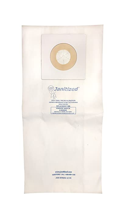 "Janitized JAN-WIWAV-2(10) Premium Replacement Commercial Vacuum Paper Bag for Windsor Wave 28"", Vacuum Cleaners, OEM#140494, 86215090 (Pack of 10)"