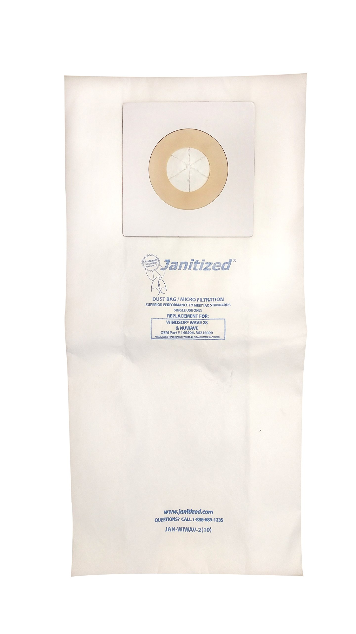 Janitized JAN-WIWAV-2(10) Premium Replacement Commercial Vacuum Paper Bag for Windsor Wave 28'', Vacuum Cleaners, OEM#140494, 86215090 (Pack of 10)
