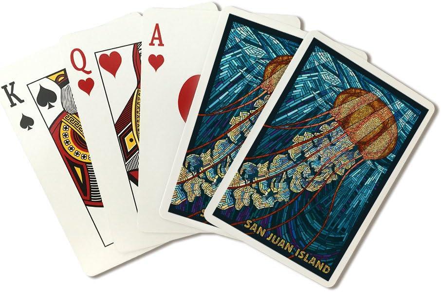 San Juan Island, Washington – Jellyfish – Mosaico (tablero de cartón para colgar) – 52 tarjeta tamaño póker con juntadores.: Amazon.es: Juguetes y juegos