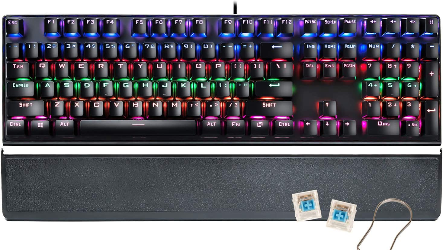 RGB Mechanical Gaming Keyboard,CHONCHOW Full-Sized Compact Mechanical Computer Keyboard USB Wired Blue Switches for Windows PC Gamers (Black)