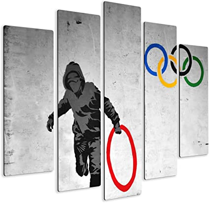 Peinture /à Panneaux Multiples 5 pi/èces Collage Impression sur Bois MDF Banksy Giallobus pr/êt /à accrocher 140x100 cm