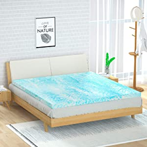 POLAR SLEEP Mattress Topper Full, 3 Inch Gel Swirl Memory Foam Mattress Topper with Ventilated Design CertiPUR-US Certified - Full