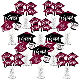 product image for Big Dot of Happiness Maroon Grad - Best is Yet to Come - 2021 Burgundy Graduation Party Centerpiece Sticks - Showstopper Table Toppers - 35 Pieces