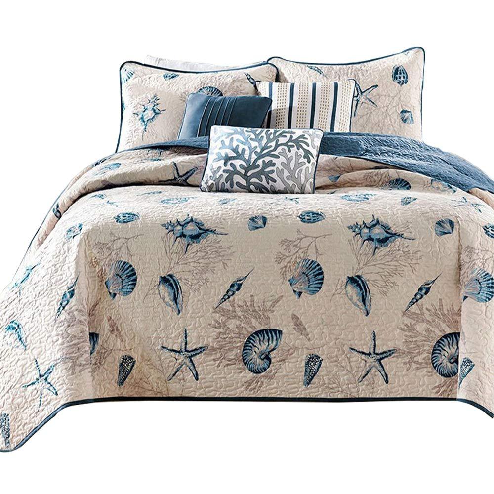 Super Soft Coral Ocean Bedding Quilt Set Seashells Beach Themed Patchwork Quilt Coverlet Set Queen Size, Cute Printed Kids Comforter Set, 100% Cotton Reversible Quilt Set, Style1 FashionStreets FSUS170914S1