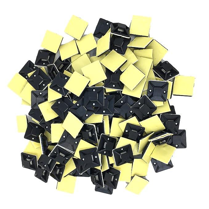 Conjunto Base Adhesiva para Unión Cable - Tie Auto Adhesivo Cable Monte, Negro (Paquete De 150) (25mm x 25mm, Negro): Amazon.es: Bricolaje y herramientas