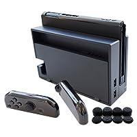 Hikfly 3in1 Ultradünne PC-Hülle (Transparent Schwarz) für Nintendo Switch Console und Joy-Con Controller (Klar Schwarz) mit 8er Daumengriff Super Slim Case geeignet für angedockten TV-Modus