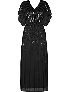 c4f9bf376df98 PrettyGuide Women s 1920s Flapper Dress Sequin Beaded Deco Angel Sleeve  Maxi Formal Evening Dress