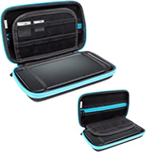 3DSXL Case, Orzly Carry Case for New 3DS XL Or Original Nintendo 3DS XL - Protective Hard Shell Portable Travel Case Pouch for 3DS XL Consoles with Slots for Games & Zip Pocket - Blue on Black