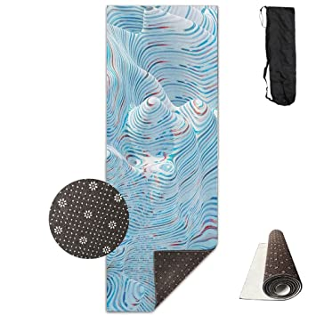Lesi Yes Yoga Mat Eco Thick Premium Pvc Abstract Blue Wave Pilates Stretching Fitness Workout