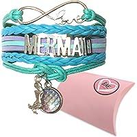 Mermaid Bracelet. Infinity Bracelet with Love Mermaids Message. Aquamarine Bracelet Comes with 2 Mermaid Charms. Ideal…