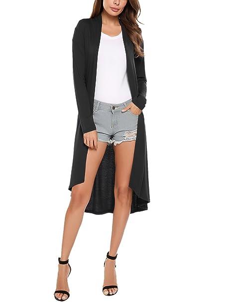 539dd6dd003 Meaneor Women s Long Sleeve Open Front Drape Lightweight Duster Cardigan  Black XXXL
