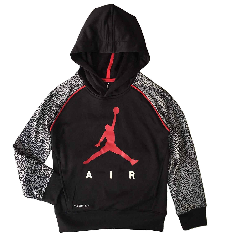 Jordan Nike Jumpman Little Boys' Elephant Print Therma-Fit Pullover Hoodie (6/5-6 Yrs, Elephant Gray)
