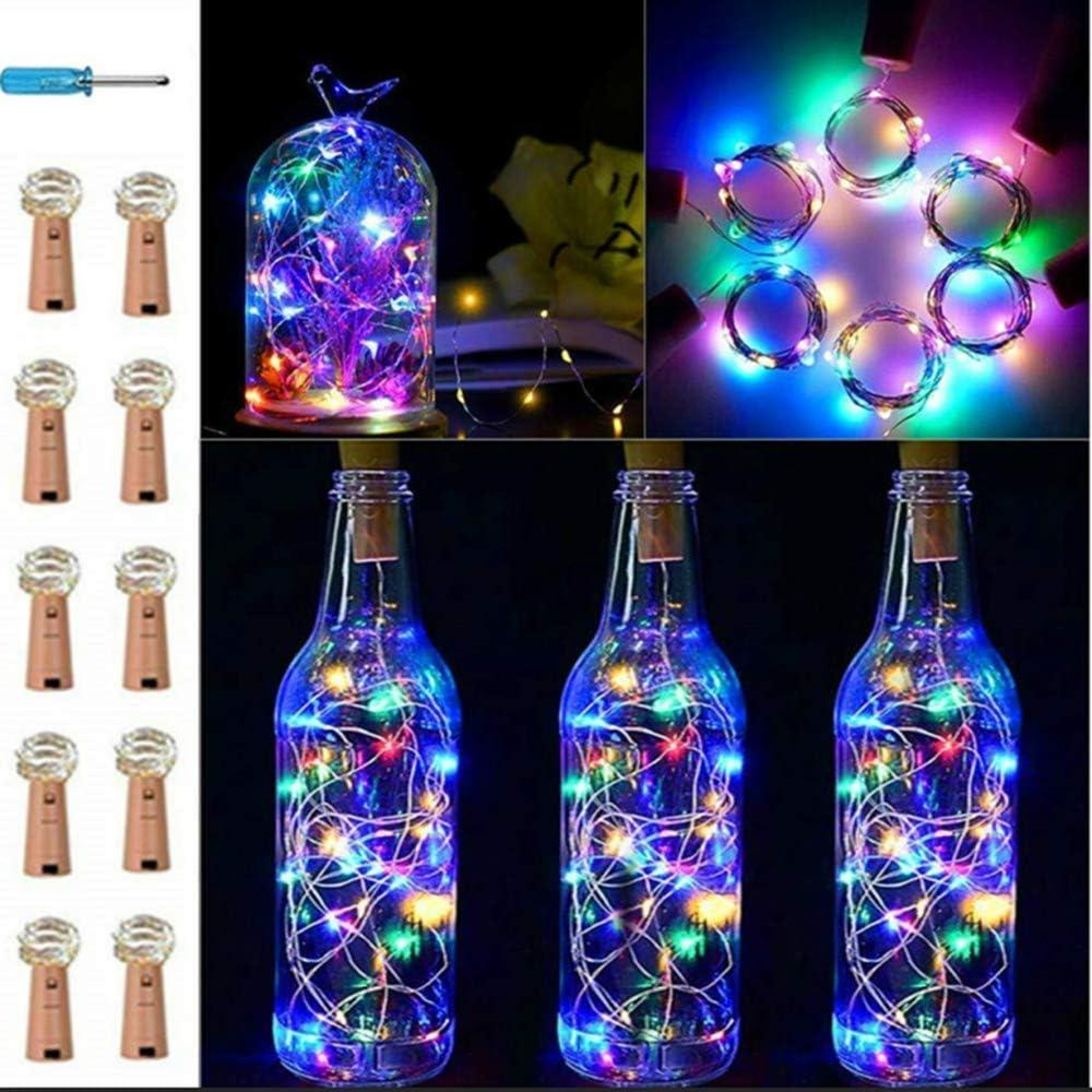 VIPMOON 10 paquetes 20 LED/6.56ft Botella Corcho Luces de cadena Botella de vino Fairy Mini Alambre de cobre,Funciona con pilas Luces estrelladas para bricolaje Navidad Halloween Fiesta bodas-Colorido
