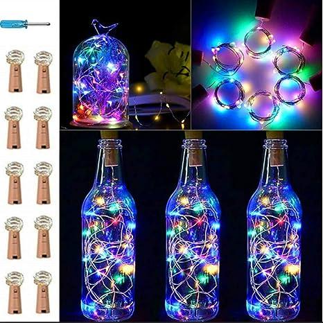 VIPMOON 10 paquetes 20 LED/6.56ft Botella Corcho Luces de cadena ...