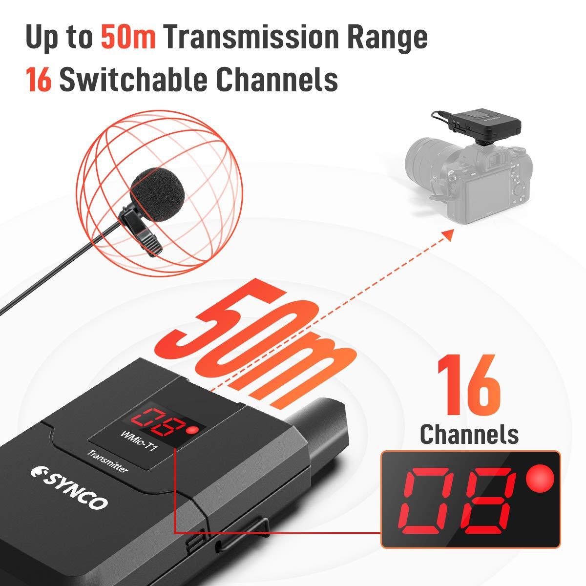 Adecuado para Entrevista Videoc/ámara y Smartphone SYNCO WMic T1 UHF-Micr/ófono-Solapa-Inal/ámbrico-Sistema 16 Canales para DSLR C/ámara Presentaci/ón etc Ense/ñanza 50m Rango de Transmisi/ón